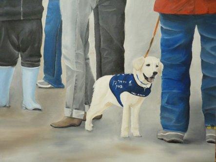 """""""דברים שרואים מכאן"""" מאת טלי גזית. תלוי במרכז לכלבי נחיה, שמן על בד"""