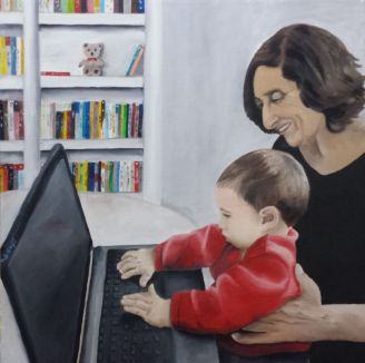 מאת טלי גזית שמן על בד 50X50 תלוי בחדר העבודה הפרטי